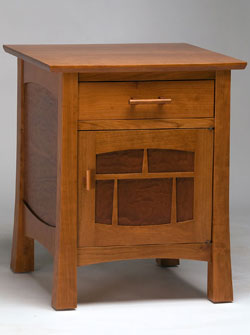 Signature Furniture, Sagano Furniture, Cherry with Quilted Makore End Table